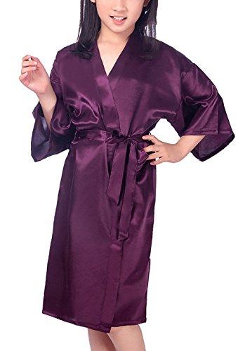 Admireme Kids' Satin Kimono Robe Bathrobe Silk Nightgown For Spa Party Wedding Birthday, Dark Purple, Tag Size 14 by Admireme