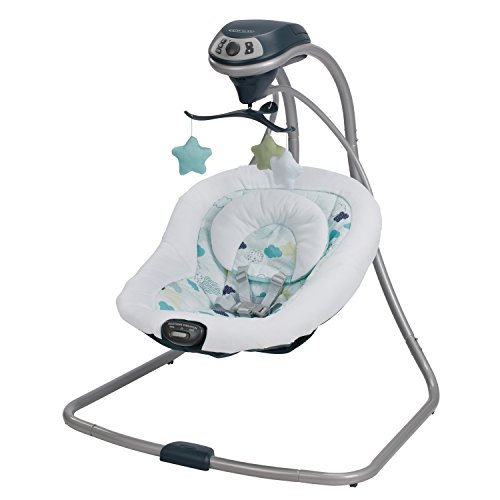 Graco Simple Sway Baby Swing | 2 Speed Vibration, Stratus (Best Way To Soothe A Baby)