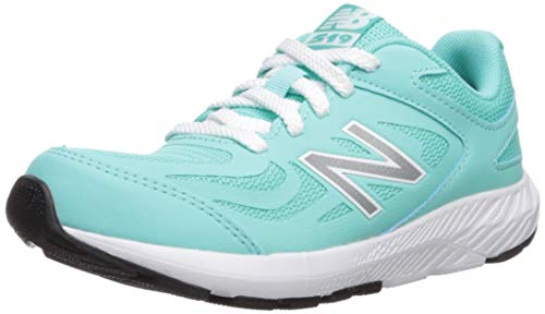 New Balance Girls' 519v1 Running Shoe, Light Tidepool/White, 4 W US Big Kid (Kids Blue Tide Apparel)