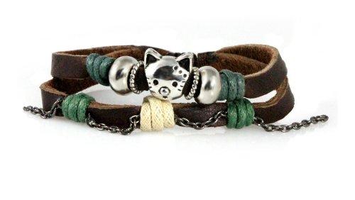 Beautiful Silver Jewelry Cute Cat Bead Multi Strand Leather Zen Charm Bracelet, Adjustable, in Gift Box