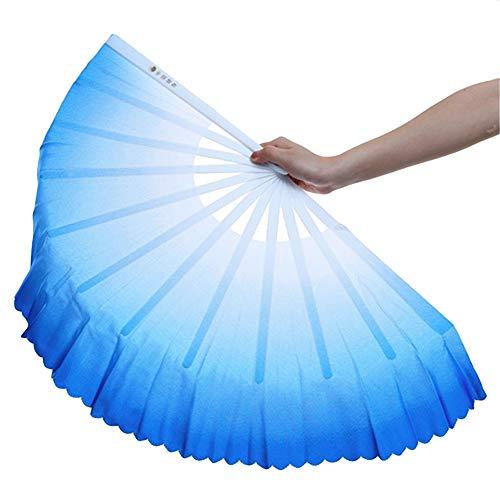 ZooBoo 1pair Plastic Taichi Kungfu Fan Dancing Fans Martial Arts Sports Folding Hand Fan 13inch - Weapon Blue