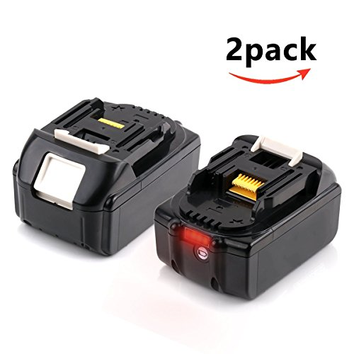 18V 5.0Ah Lithium-Ion Replacement Battery with LED Indicator for Makita BL1850B BL1850 BL1840 BL1830 BL1815 LXT-400 194204-5 Cordless Power Tool - 2 Pack by Enegitech