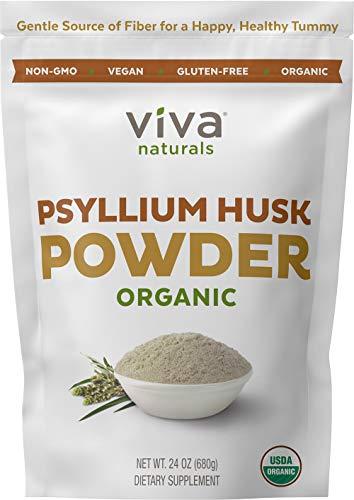 Organic Psyllium Husk Powder; Psyllium Husk Fiber Powder for Baking Keto Bread, Easy Mixing Fiber Supplement for Promoting Regularity, Finely Ground & Non-GMO, 24 oz. (Powder)