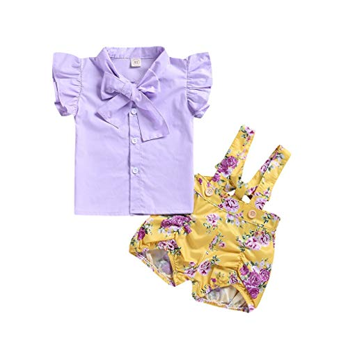 (MOGOV Toddler Baby Girls Summer Outfits Purple Bow T-Shirt Tops Floral Print Overalls Shorts)