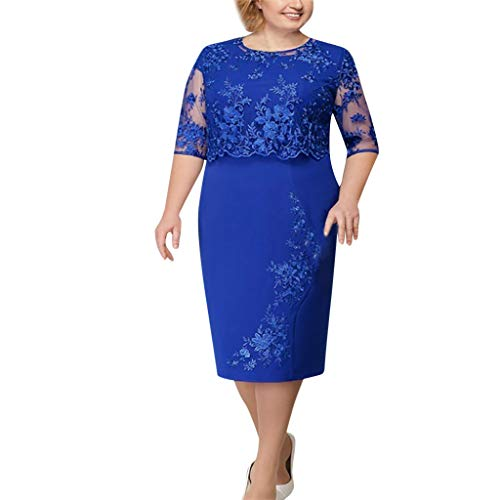 (✔ Hypothesis_X ☎ Women's Shawl Fake Two-Piece Lace Short-Sleeved Dress 24 Fashion Noble Evening Midi Dress Blue)