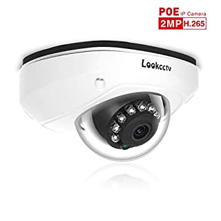 """lookcctv Dome IP Security Camera 1080P HD POE CCTV Camera 1/2.9"""" Sensor 2.8mm Wide Angle Lens 33ft IR Night Vision for Indoor Outdoor Home Video Surveillance"""