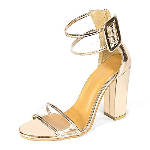 Women's High Heel Platform Dress Pump Sandals Ankle Strap Block Chunky Heels Party Shoes - Gold Glittery 6.5 ()