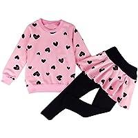 Jastore Baby Girls 2pcs Love Heart Long Sleeve Clothing Sets Shirt and Pants Fall Clothes