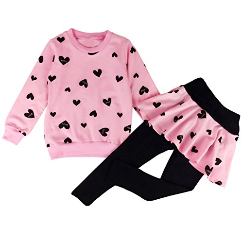 Jastore Baby Girls 2pcs Love Heart Long Sleeve Clothing Sets Shirt and Pants Fall Clothes (3T, Pink) -