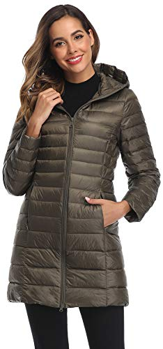 Obosoyo Women's Winter Packable Down Jacket Plus Size Lightweight Long Down Outerwear Puffer Jacket Hooded Coat ArmyGreen XL