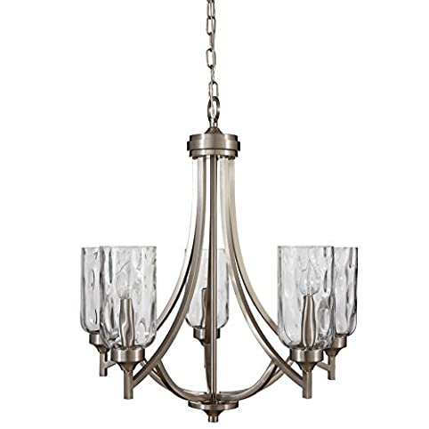 allen + roth Latchbury 23.73-in 5-Light Brushed Nickel Craftsman Textured  Glass Shaded - Allen + Roth Latchbury 23.73-in 5-Light Brushed Nickel Craftsman
