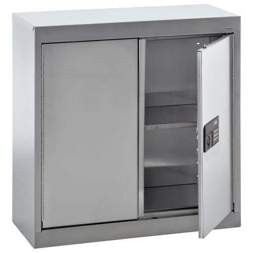 Sandusky Lee SA1E301230-XX 304 Stainless Steel Wall Storage Cabinet, Keyless Electronic Lock, 1 Adjustable Shelf, 30