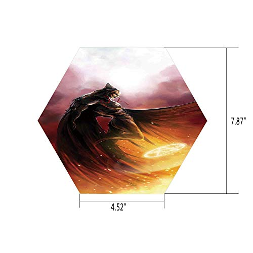 iPrint Hexagon Wall Sticker,Mural Decal,Fantasy World,Superhero in His Original Costume Flying Up Magic Flame Save The World Theme,Yellow Red,for Home Decor 4.52x7.87 10 -