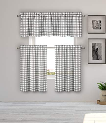 (Home Maison  - Kaiser Plaid Gingham Checkered Kitchen Tier & Valance Set | Small Window Curtain for Cafe, Bath, Laundry, Bedroom - (Grey))