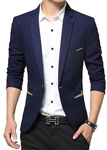 Business Il Dunkelblau Fit Libero Vintage Giacca Blazer Elegante Tempo Sportiva Slim Uomo Per Da Lavoro Smithroad qwCnt8vZ
