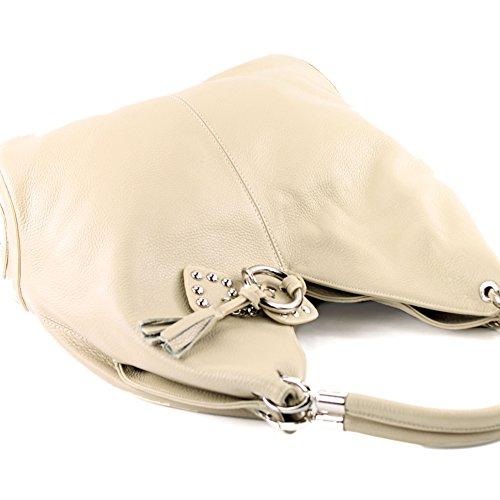 Made Italy - Bolso al hombro de cuero para mujer beige claro