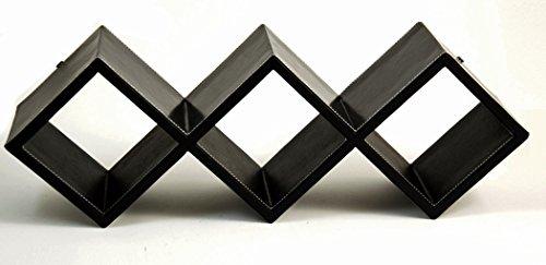 Storage Racks - Black Leather Storage Rack - CD Storage Rack - Wall Mounted or Desktop Storage Rack -  Kensington Row Collection