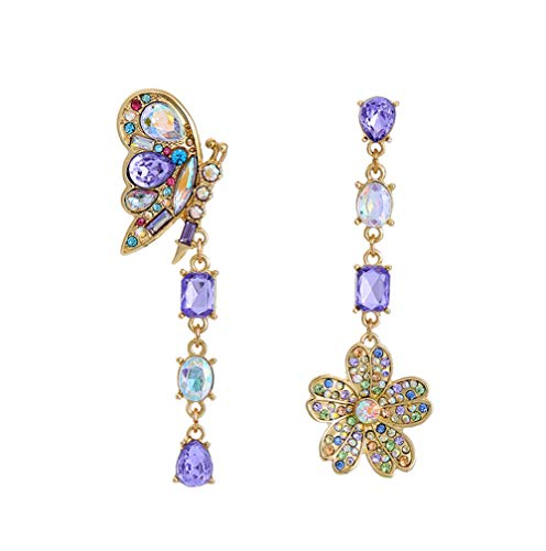 AMARELA Womens Blooming Butterfly and Flower Non Matching Crystal Earrings