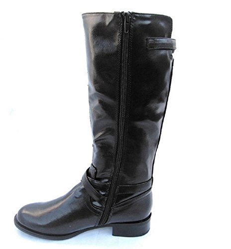Military Leatherette High Equestrian Knee Riding Black Soda Motorcycle Decor Women's Buckle Boot Bio S w1nvx8qPY