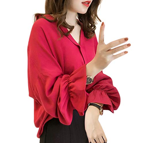 [アナトレ] レディース ブラウス 長袖 ベルスリーブ 無地デザイン シャツ 韓国スタイル トップス 3色 M~4XL