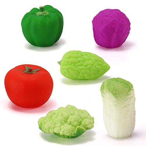 Mings Stylish Cute bath toys Pack of 6 pcs Children's Cartoon Cute Fruit Vegetable Bathtub Bathroom Bath Toy Water Play Toy