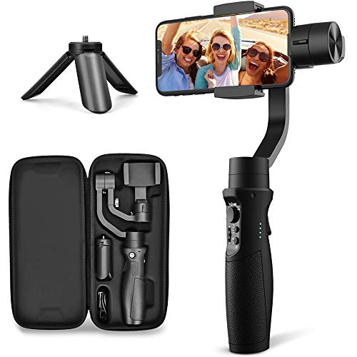 3-Axis Gimbal Stabilizer for iPhone X XR XS Smartphone Vlog Youtuber Live Video Record with Sport Inception Mode Face Object Tracking Motion Time-Lapse - Hohem Isteady Mobile Plus (Upgraded New) (New Axis)