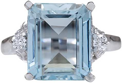 4.72 Carat Natural Aquamarine And Diamond Ring In 14K White Gold