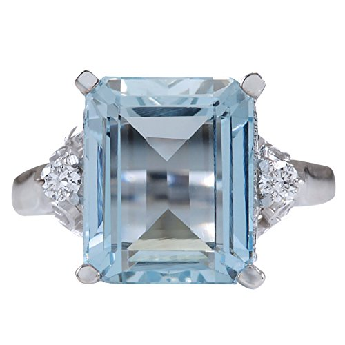 4.72 Carat Natural Blue Aquamarine and Diamond (F-G Color, VS1-VS2 Clarity) 14K White Gold Cocktail Ring for Women Exclusively Handcrafted in ()