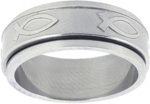 Diamond Spinner Rings - Solid Rock Jewelry Ring-Ichthus Spinner-Style 304-Size 6