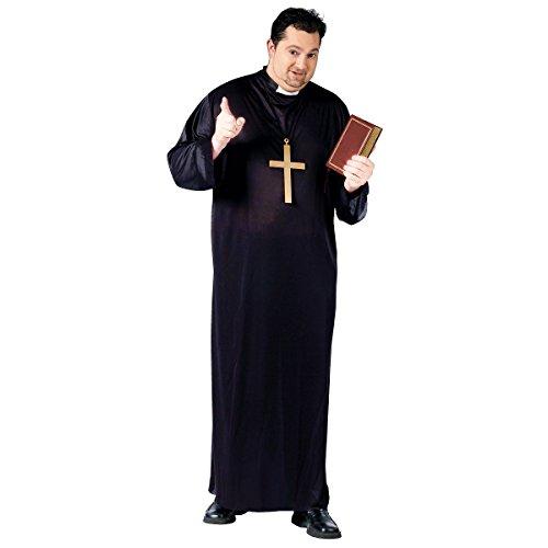Black Priest Robe Costume - Plus Size - Chest Size 48-53 -