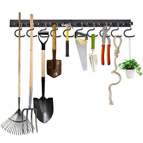 NANXUN Adjustable Storage System 64 Inch, Wall Mount Tool Organizer, Garage Organizer, Garden Tool Organizer, Wall Holders for Tools, Heavy Duty Tools Hanger with 4 Rails 16 Hooks