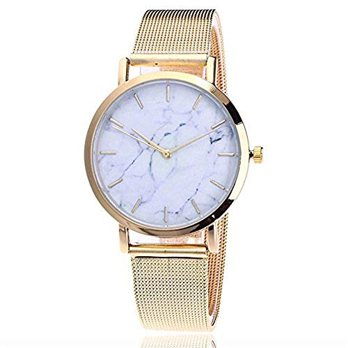 Women's Casual Quartz Watch Stainless Steel Leather Band Marble Strap Watch Analog Wrist Watch Gift ODGear (Mickey Mouse Gold Pocket Watch)