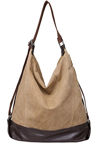Shoulder Body Bags Large Tote Handle Hobos Canvas Women for DATO Casual Handbags Khaki Cross Fashion Bags Multifunction Top Messenger Bags Girls PZCwx1Hq