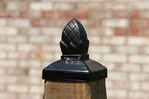 - Post cap for wood 4x4 post, Square Pineapple Wrought Iron Finial, Gate Post