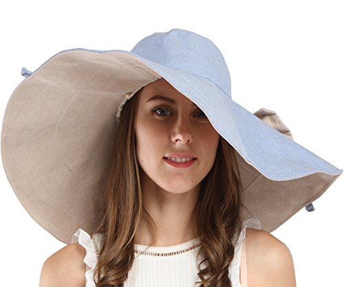 Maitose&Trade; Women's UV Sun Protection Beach Wide Brim Fishing Hat Blue