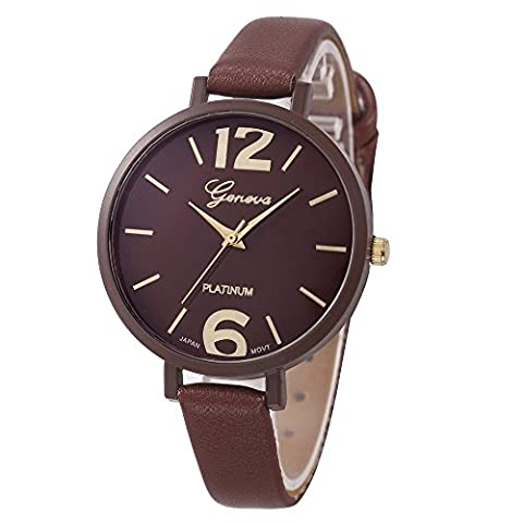 Womens Watches,COOKI Unique Analog Fashion Lady Watches Female watches on Sale Casual Wrist Watches for Women,Round Dial Case Comfortable Faux Leather Watch (Brown Leather Geneva Watch)