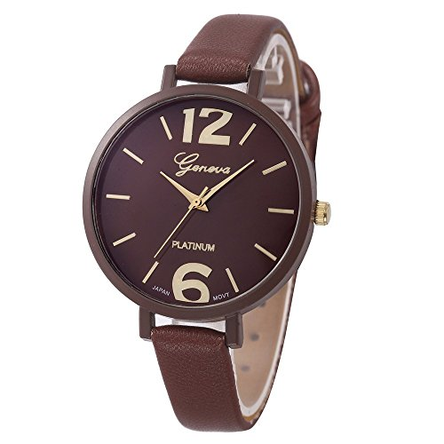 Womens Watches,COOKI Unique Analog Fashion Lady Watches Female watches on Sale Casual Wrist Watches for Women,Round Dial Case Comfortable Faux Leather Watch (Brown Leather Geneve Watch)