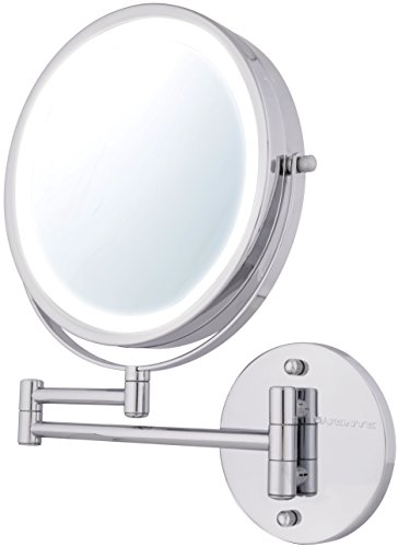 Ovente Wall Mount Makeup Mirror, Battery Operated LED Lighte