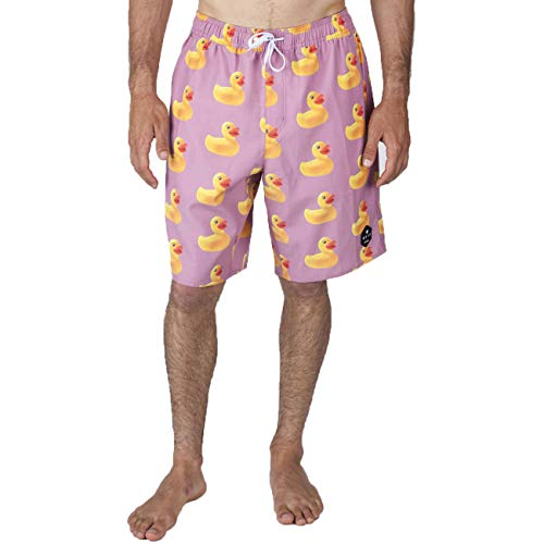 Price comparison product image Neff Men's Daily Hot Tub Trunks Board Shorts (VINTAGE ROSEWOOD DUCKY,  Medium)
