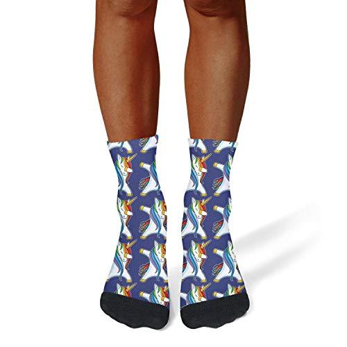 XIdan-die Mens Athletic Crew Socks Unicorn Dabbing Dab Dance Humor Moisture Wicking Casual Socks by XIdan-die