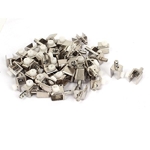 uxcell 5mm-8mm Thickness Adjustable Screw Zinc Alloy Glass Clip Clamp 50 Pcs