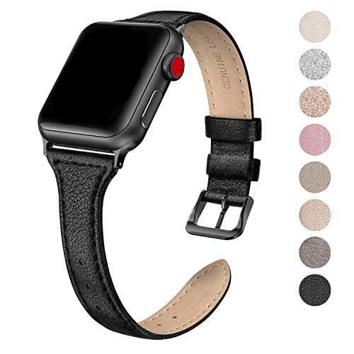 (SWEES Leather Band Compatible for Apple Watch iWatch 38mm 40mm, Slim Thin Dressy Elegant Genuine Leather Strap Compatible iWatch Series 4 Series 3 Series 2 Series 1 Sport Edition Women, Black)