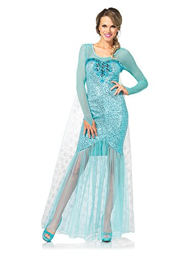 Elsa Costumes Adult Small (Leg Avenue Women's Fantasy Snow Queen Elsa Costume, Aqua, Small)