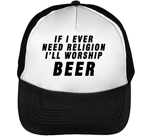 I'Ll I Religion Worship Blanco Beisbol Need Funny Ever Slogan Hombre Snapback Gorras If Beer Negro w4dIq4