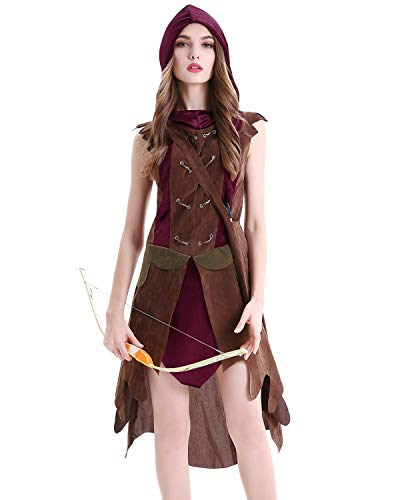 Quesera Women's Huntrss Costume Robin Hood Hunter Warrior Red Hood Hooded Outfit, Red, Tag Size XL= US Size L
