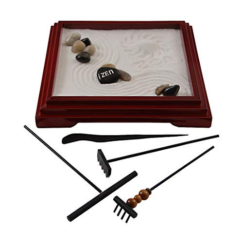 Leisure Llama Ultimate Zen Garden | 10 x 10 inches, 4 Tools, 10 Stones, Extra Sand