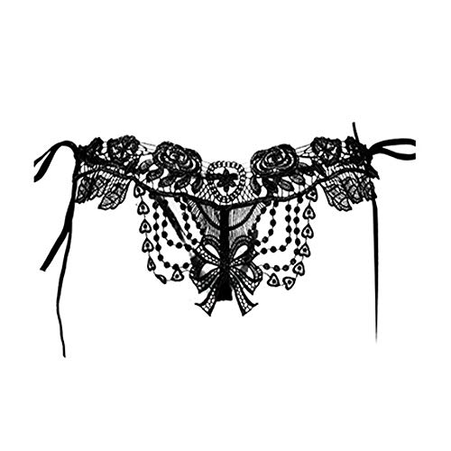 YXLove Womens Sexy Underwear Open Back Hollow Water solube lace Lingerie Underwear Thong G-String (Black) ()