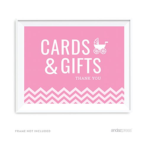 Andaz Press Pink Chevron Girl Baby Shower Collection  Party Sign  Cards   Gifts  8 5X11 Inch  1 Pack