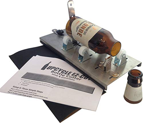 Glass Bottle & Bottleneck Cutter Kit, Upcycle EZ-Cut: Versatile-Track Model Adjusts to Cut Bottlenecks & All Lengths + Edge Sanding Paper (Stainless Steel)