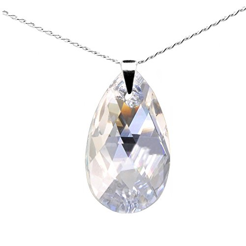 Sterling Silver 925 Made with Swarovski Crystals Moonlight Pendant Necklace for Women, 18